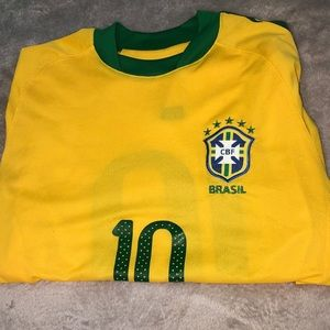 Brasil Yellow And Green Number 10 Shirt